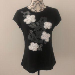 INC Black Floral Short Sleeve Tee Size Large